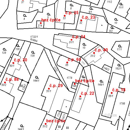 Katastrální mapa Stavební objekt Budišovice 60, Budišovice