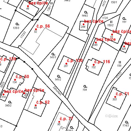 Katastrální mapa Stavební objekt Budišovice 130, Budišovice