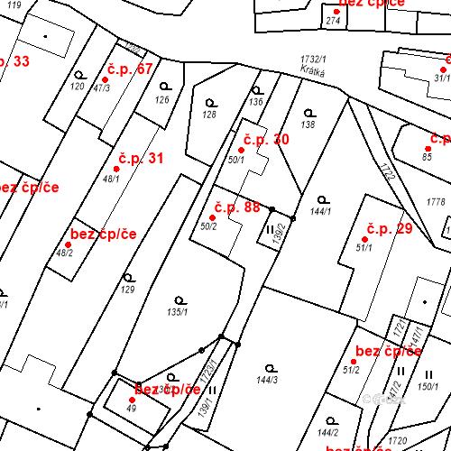 Katastrální mapa Stavební objekt Budišovice 88, Budišovice