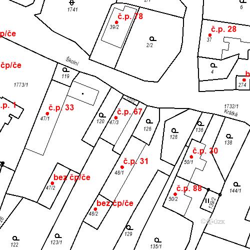 Katastrální mapa Stavební objekt Budišovice 67, Budišovice