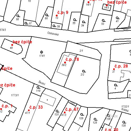Katastrální mapa Stavební objekt Budišovice 78, Budišovice