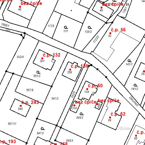 Katastrální mapa Stavební objekt Budišovice 139, Budišovice