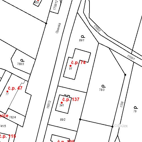 Katastrální mapa Stavební objekt Budišovice 74, Budišovice