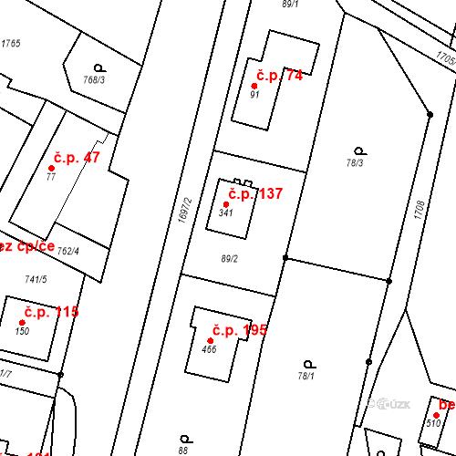 Katastrální mapa Stavební objekt Budišovice 137, Budišovice