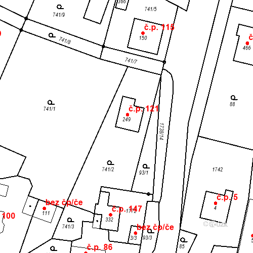 Katastrální mapa Stavební objekt Budišovice 121, Budišovice