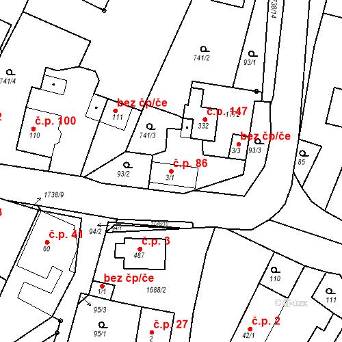 Katastrální mapa Stavební objekt Budišovice 86, Budišovice