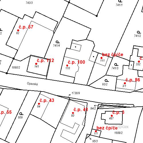 Katastrální mapa Stavební objekt Budišovice 100, Budišovice