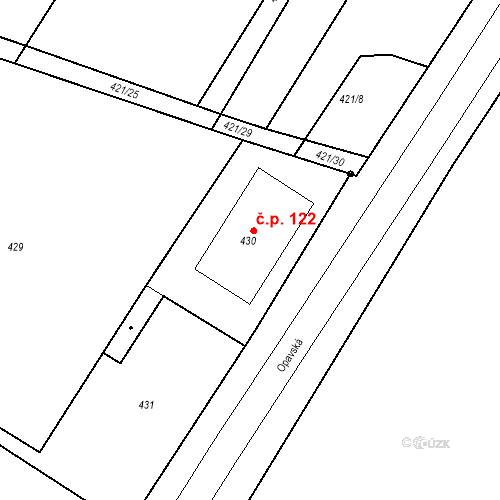 Katastrální mapa Stavební objekt Hněvošice 122, Hněvošice
