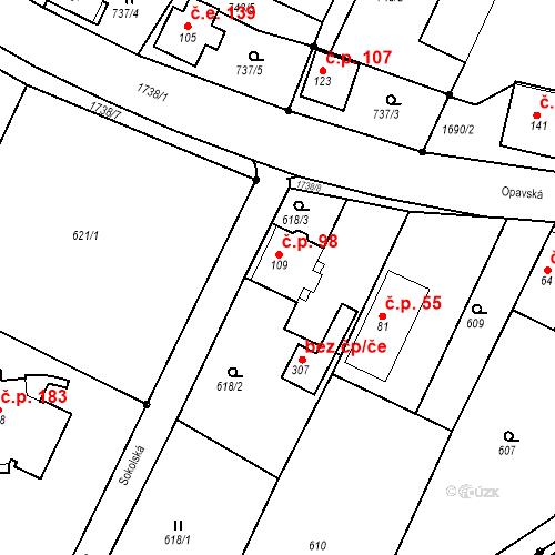 Katastrální mapa Stavební objekt Budišovice 98, Budišovice