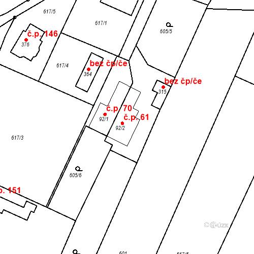 Katastrální mapa Stavební objekt Budišovice 61, Budišovice