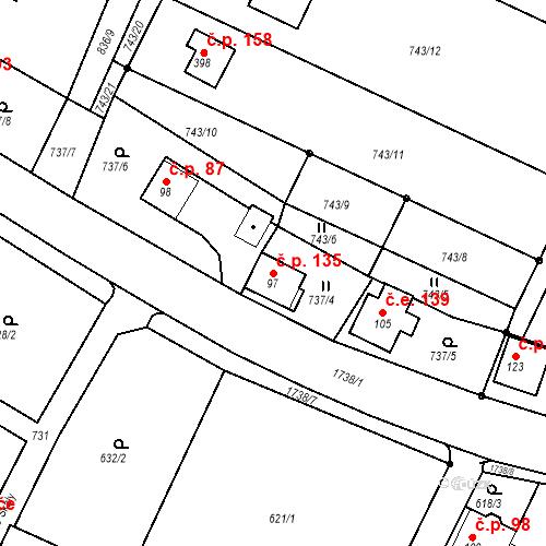 Katastrální mapa Stavební objekt Budišovice 135, Budišovice