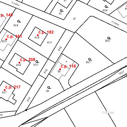 Katastrální mapa Stavební objekt Hněvošice 118, Hněvošice
