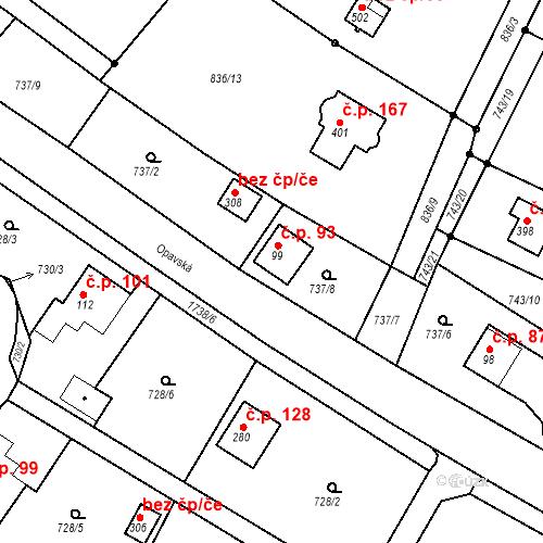 Katastrální mapa Stavební objekt Budišovice 93, Budišovice