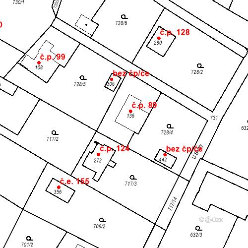 Katastrální mapa Stavební objekt Budišovice 89, Budišovice