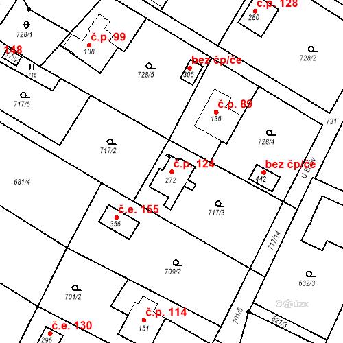 Katastrální mapa Stavební objekt Budišovice 124, Budišovice