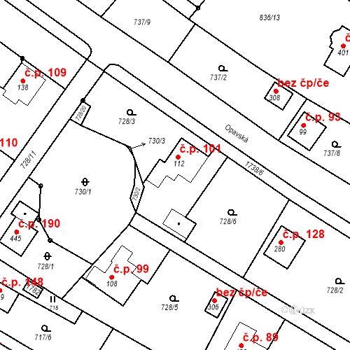 Katastrální mapa Stavební objekt Budišovice 101, Budišovice