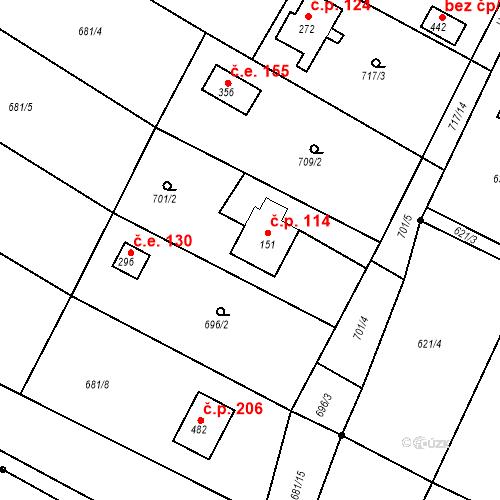 Katastrální mapa Stavební objekt Budišovice 114, Budišovice