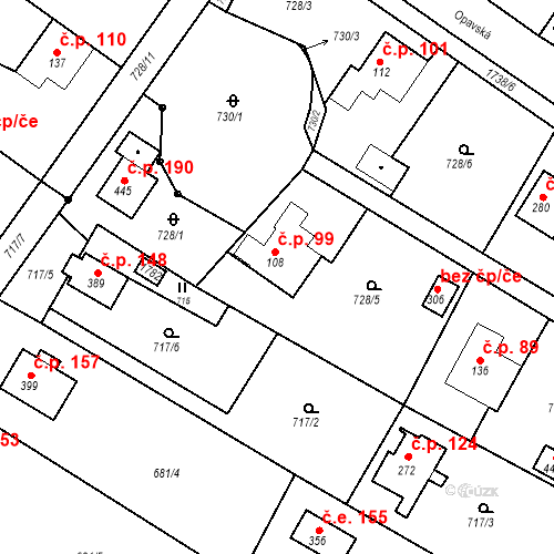 Katastrální mapa Stavební objekt Budišovice 99, Budišovice
