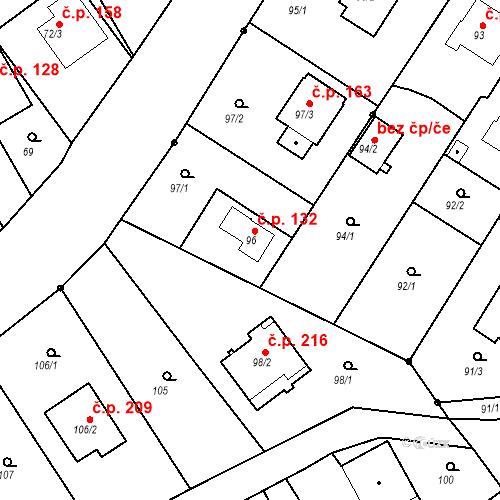 Katastrální mapa Stavební objekt Hněvošice 132, Hněvošice