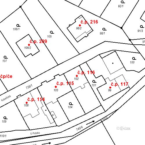 Katastrální mapa Stavební objekt Hněvošice 116, Hněvošice
