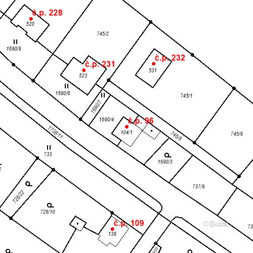 Katastrální mapa Stavební objekt Budišovice 96, Budišovice