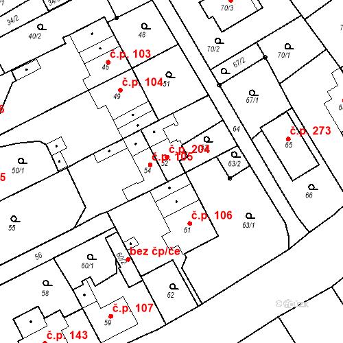 Katastrální mapa Stavební objekt Hněvošice 204, Hněvošice