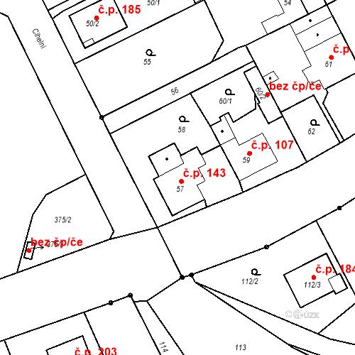 Katastrální mapa Stavební objekt Hněvošice 143, Hněvošice