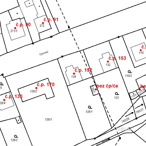 Katastrální mapa Stavební objekt Hněvošice 152, Hněvošice