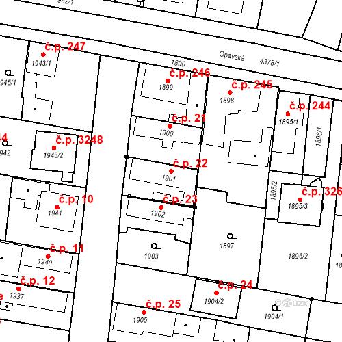 Katastrální mapa Stavební objekt Kravaře 22, Kravaře