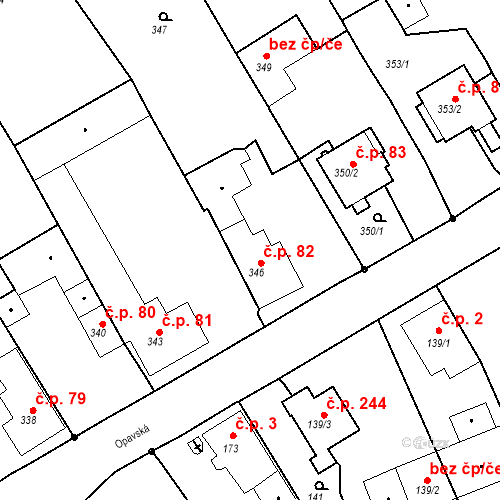 Katastrální mapa Stavební objekt Hněvošice 82, Hněvošice