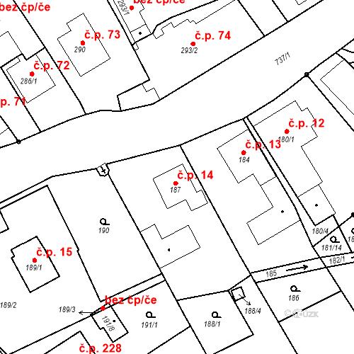 Katastrální mapa Stavební objekt Hněvošice 14, Hněvošice