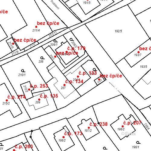Katastrální mapa Stavební objekt Hněvošice 133, Hněvošice