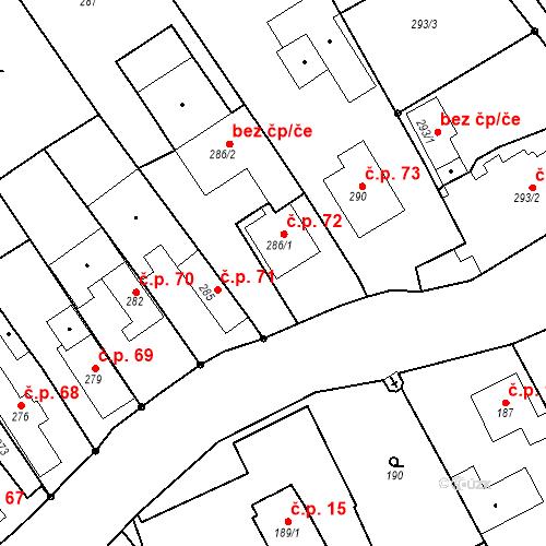 Katastrální mapa Stavební objekt Hněvošice 72, Hněvošice