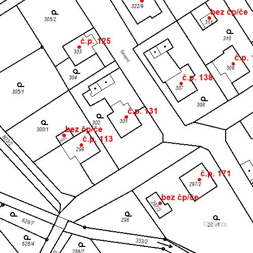 Katastrální mapa Stavební objekt Hněvošice 131, Hněvošice
