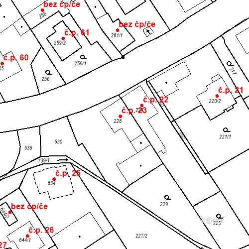 Katastrální mapa Stavební objekt Hněvošice 23, Hněvošice