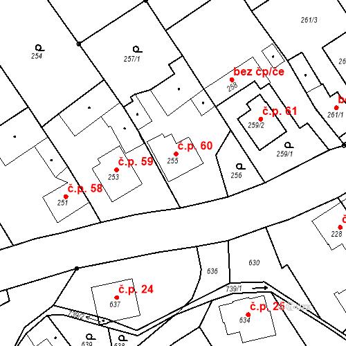 Katastrální mapa Stavební objekt Hněvošice 60, Hněvošice