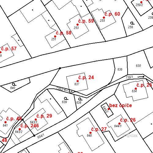 Katastrální mapa Stavební objekt Hněvošice 24, Hněvošice