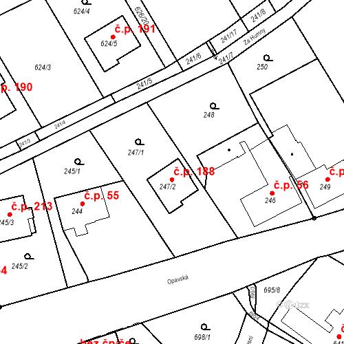 Katastrální mapa Stavební objekt Hněvošice 188, Hněvošice