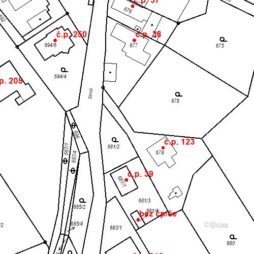 Katastrální mapa Stavební objekt Hněvošice 123, Hněvošice