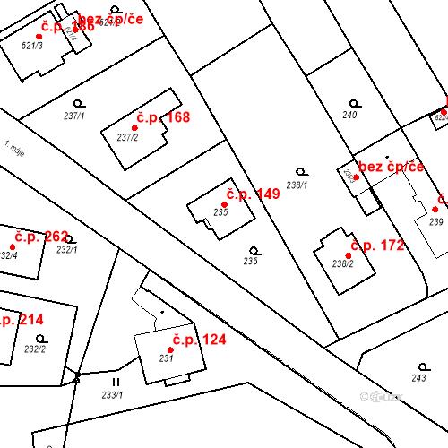 Katastrální mapa Stavební objekt Hněvošice 149, Hněvošice