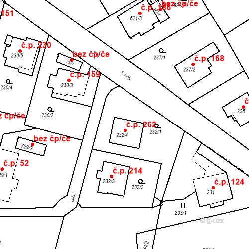 Katastrální mapa Stavební objekt Hněvošice 262, Hněvošice