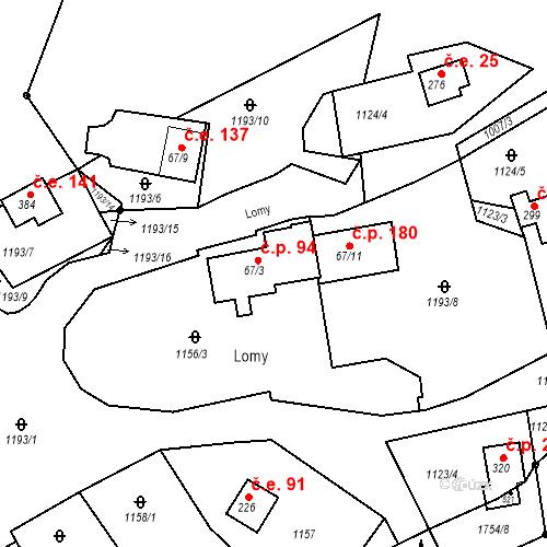 Katastrální mapa Stavební objekt Budišovice 94, Budišovice