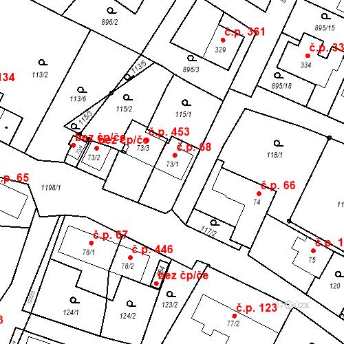 Katastrální mapa Stavební objekt Mořkov 68, Mořkov
