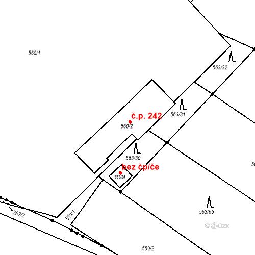 Katastrální mapa Stavební objekt Hněvošice 242, Hněvošice