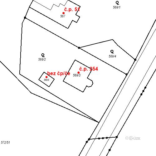 Katastrální mapa Stavební objekt Hněvošice 254, Hněvošice
