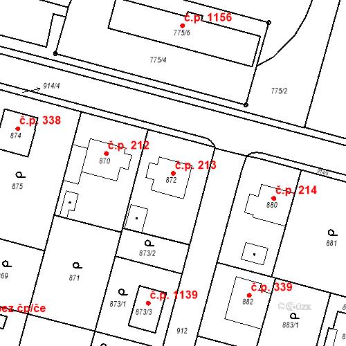 Katastrální mapa Stavební objekt Bílovec 213, Bílovec