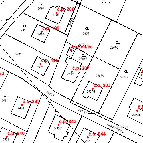 Katastrální mapa Stavební objekt Bílovec 207, Bílovec