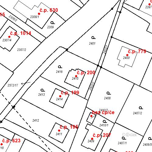 Katastrální mapa Stavební objekt Bílovec 200, Bílovec