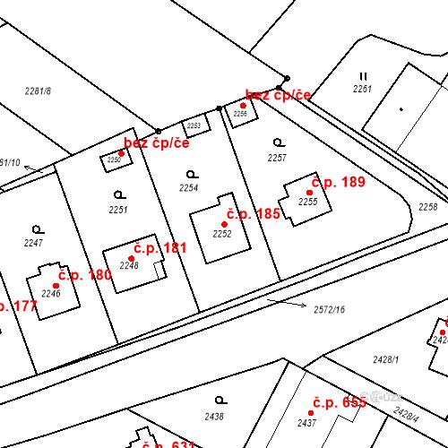 Katastrální mapa Stavební objekt Bílovec 185, Bílovec