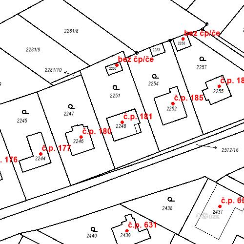 Katastrální mapa Stavební objekt Bílovec 181, Bílovec